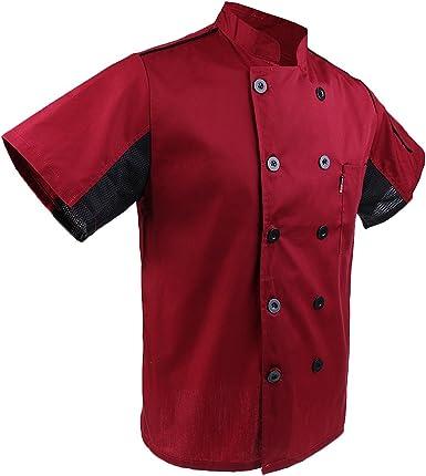 MagiDeal Uniformes de Chef Chaqueta de Cocina Camiseta de Mangas Corta de Verano Unisexo
