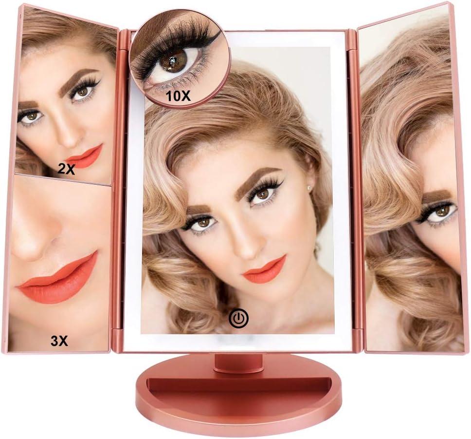 FASCINATE Espejo Maquillaje Con Luz,Tríptica Aumentos 10x, 3x, 2x,1x Magnetismo Extraíble Espejo 10 Aumentos Rotación de 180° Espejo de Maquillaje luminacíon 36 LEDs Carga Con USB o Batería (Oro Rosa)