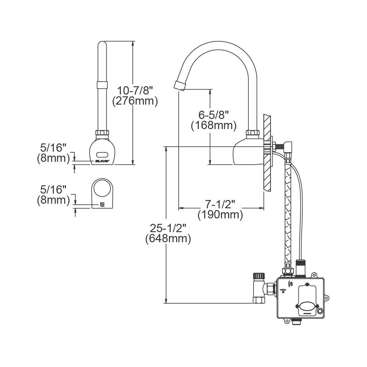 Elkay LKB722C Commercial Electronic Sensor Scrub/Handwash Battery Powered Wall Mount Faucet, Chrome by Elkay