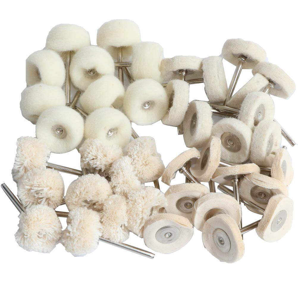 FPPO Polish Buffing Wheel Kit for Dremel,Wool Felt Mounted 3mm Mandrel for Rotary Tool Accessories,Mini Cotton Cloth Brush Polishing Set for Watch and Jewelry,40 Pieces