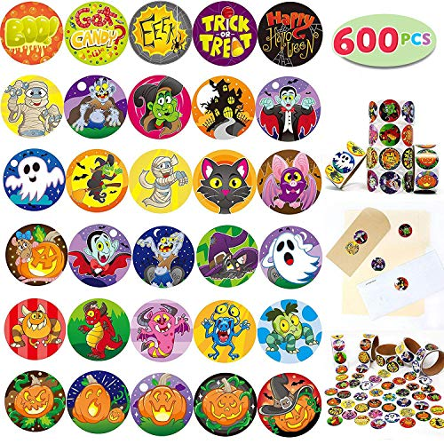 JOYIN 600 Pieces Assorted Halloween Stickers; Halloween Scrapbook Stickers Self Adhesive Shapes for Halloween Craft Supplies, Classrooms Prizes, Halloween Novelty and Jack O Lantern Stickers -