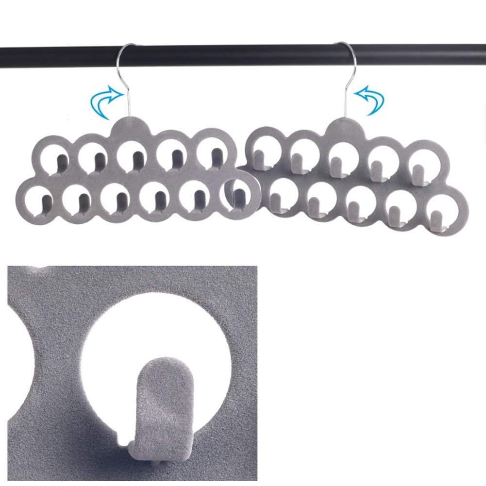 colgador de corbatas para hombre gancho giratorio de terciopelo gris 2 perchas de ropa antideslizantes para bufandas organizador de cintur/ón 11 agujeros