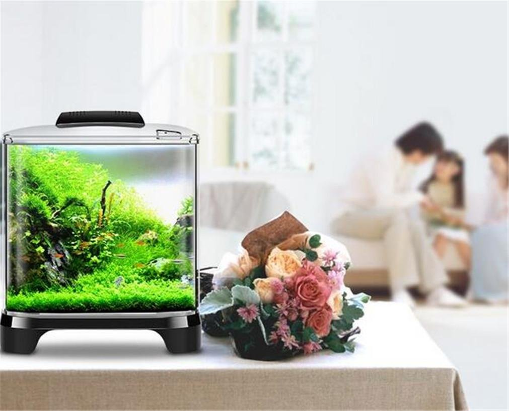 YANFEI YANFEI YANFEI 7L Desktop Mini Eco Power Plant interno di illuminazione acquario trasparente desktop regalo creativo con la copertura Fish Tank 96e398