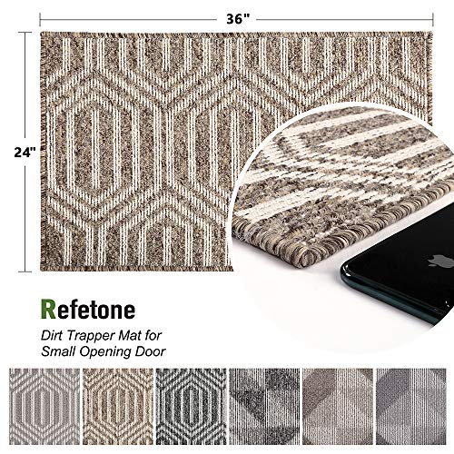 "Refetone Indoor Doormat Front Door Mat Non Slip Rubber Backing Absorbent Mud and Snow Magic Inside Dirts Trapper Mats Low-Profile Entrance Rug Machine Washable - 24""x 35.5"", Camel"