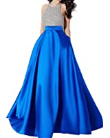 Andybridal Satin Prom Dress Halter Beaded Sequins Backless Long Evening Dresses
