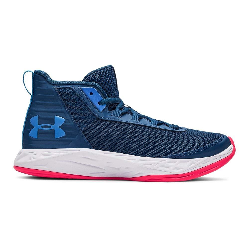 Under Armour Boys' Grade School Jet 2018 Basketball Shoe, Petrol Blue (404)/White, 4 M US Big Kid