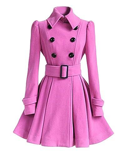 Mujer Elegante Chaqueta Larga Doble Pecho Slim Abrigo Trench Coat Vintage Outwear
