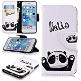 Wallet Case for iPhone 5S,PU Leather Cover for iPhone SE,Leecase Retro Cool Pretty HELLO Panda Pattern Design Flip Stand Phone Case Cover Wallet Handset Shell Bookstyle Cellphone Skin Pouch with Magnetic Closure Card Slots Folio Protective Pocket Bumper Cover Skin for iPhone 5S SE 5 + 1x Black Stylus