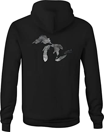 671866eb Motorcycle Zip Up Hoodie Smoke on The Water - Michigan Great Lakes - Small  Black