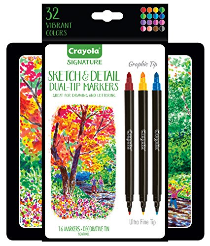 Crayola Signature Sketch & Detail Dual-Tip Markers, Professional ...
