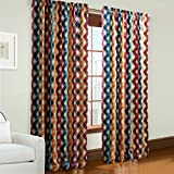IYUEGO Contemporary Cold Colors Overlapping Curves Geometric Rod Pocket Top Lined Blackout Curtains Draperies With Multi Size Custom 100″ W x 108″ L (One Panel) For Sale