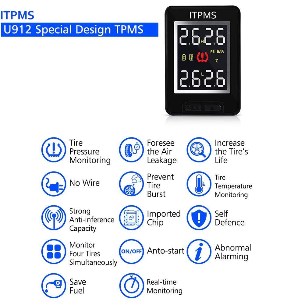 Toyota Only Beatie TPMS Wireless Syst/ème de Surveillance de la Pression des Pneus pour Voiture avec 4 capteurs externes