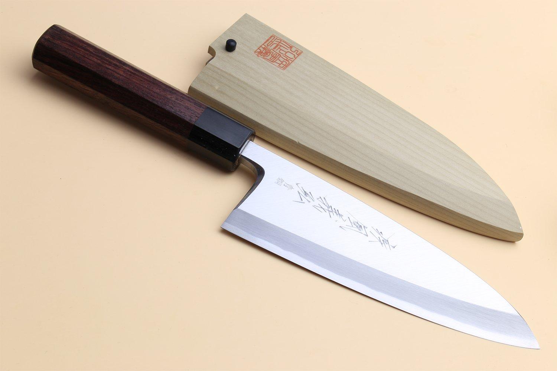 Yoshihiro Hongasumi Blue Steel #2 Deba fish fillet Chef Knife Shitan handle (7'' (180mm))