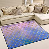 ZOEO Non Slip Area Rugs Purple Mermaid Scales Marble Fish Light Summer Gold Sofa Mat Living Room Bedroom Carpets Doormats Home Decor 5x7