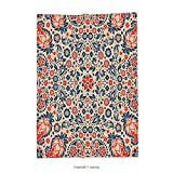 Custom printed Throw Blanket with Paisley Decor Embellished Islamic Arabesque Floral Pattern Cultural Folk Persian Print Red Beige Blue Super soft and Cozy Fleece Blanket