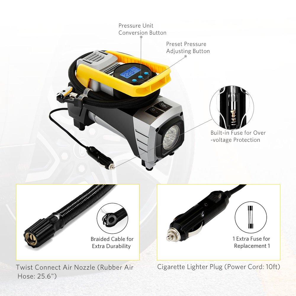 Compresor de Aire Portátil con Auto Inflador de neumáticos metálico Medidor de Neumáticos Digital Fusible de vehículo Adaptadores adicionales Bomba de Aire ...