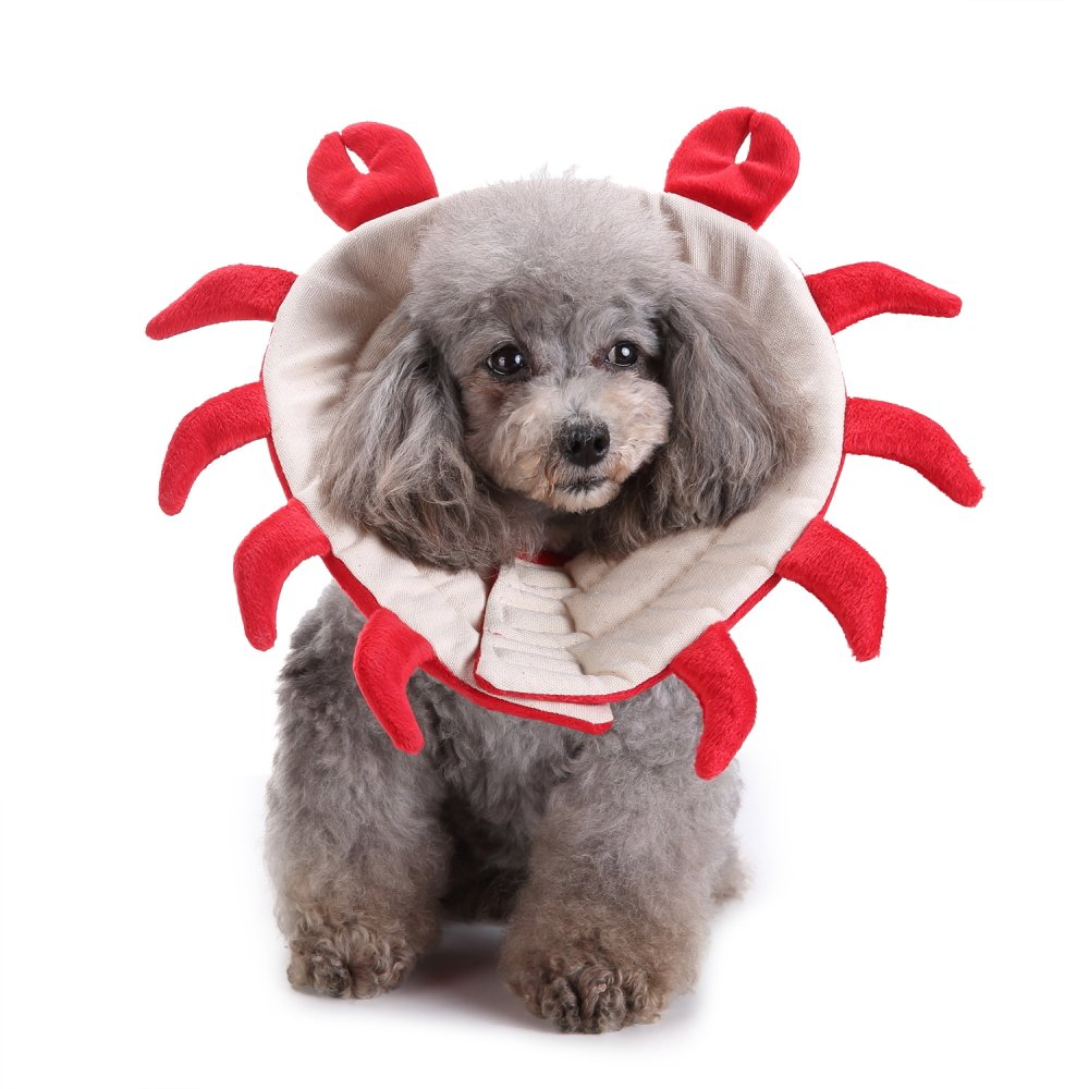 BBZone Protective Dog Recovery Cone Collar Soft Cats Dogs, E-Collar Crab Pattern Style Prevent Pets from Touching Stitches, Adjustable Lightweight Pet Recovery Collars for Surgery, Anti-Bite Lick,M