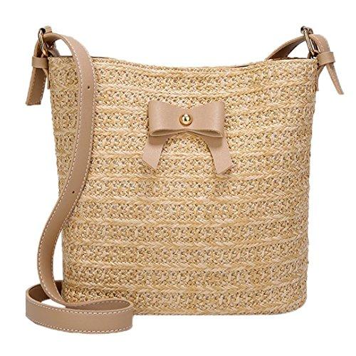 Bags Crossbody Khaki Bag Straw Casual Bag Shoulder Women Bow Tefamore Woven Bag Bucket Handbag wBqXSX
