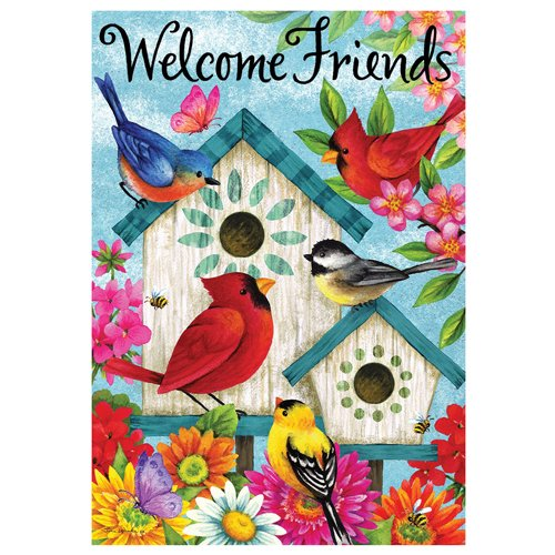 Welcome Friends Birdhouses - Garden Size, 12 Inch X 18 Inch, Decorative Double Sided Licensed, Trademarked and Copyrighted Flag Printed IN USA by Custom Decor Inc.