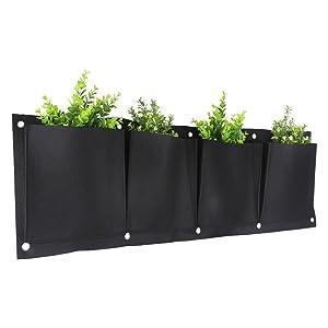 KISSTAKER Vertical Garden Planter, 4 Pockets Wall Haning Felt Planter Bags Wall Mount Planter Indoor Outdoor Planter Growing Bag (4 Horizontal)