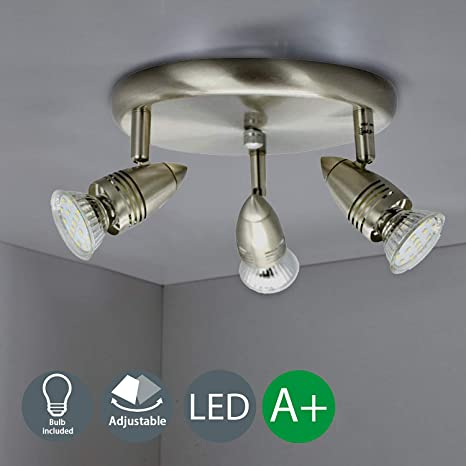 3 Way Round Plate Led Ceiling Spot Lights For Kitchen Living Room Bedroom Polished Chrome Rotatable Led Ceiling Spotlights Bar Including 3 X 4w