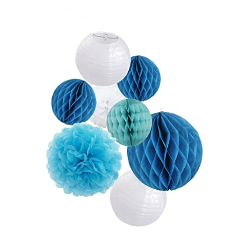 Kit de decoración para fiestas, color azul papel de seda ...