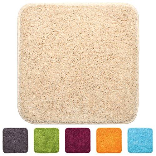 Beautissu® WC-Vorleger aus Microfaser - 50x50 cm - weiche, rutschfeste Natur-Latex Hänge-WC-Matte (1200 g/m²) - Beige