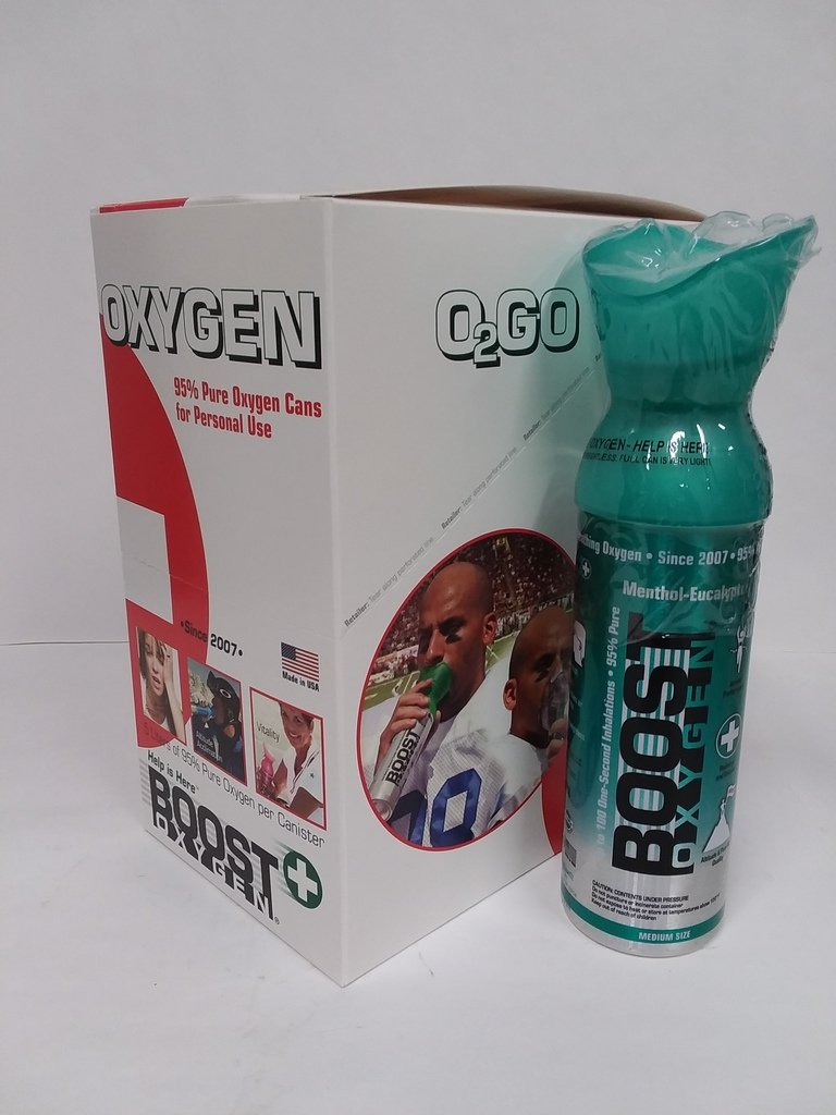 Boost Oxygen Menthol-Eucalyptus Flavored Oxygen in a Can Medium Size 5 Liters (6 Pack) by Boost Oxygen