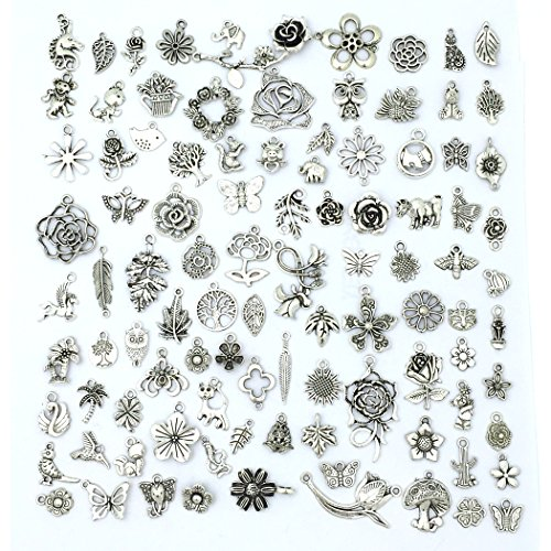 YETOOME Tibetan Silver Charms Mixed Pendants DIY for Jewelry Making and Crafting, Tree Leaf Flower charms and animals Beads, Forest Style 100PCS