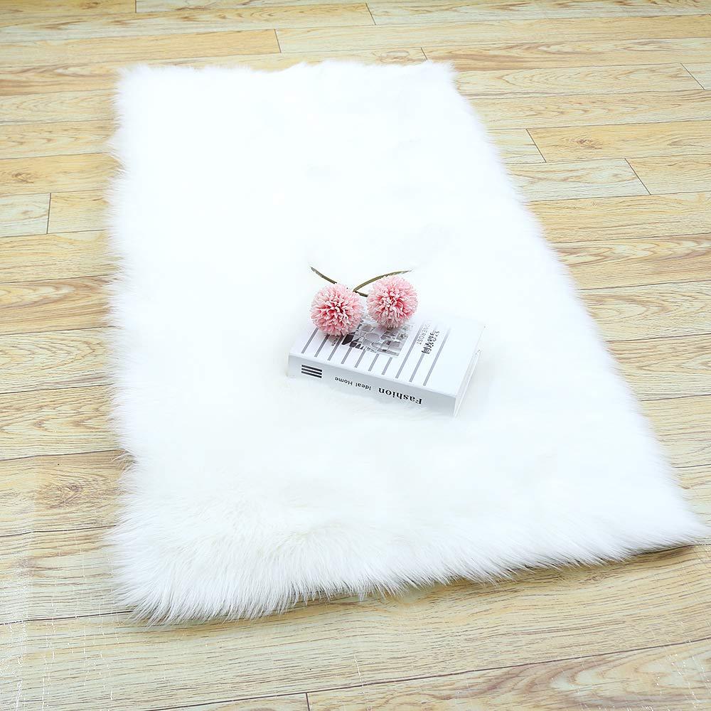 YOH Modern Imitation Sheepskin Plush Carpets Fluffy Shaggy Area Rugs for Bedroom Living Room Kids Room Home Decor Super Soft Mat, 2ft x 3ft White