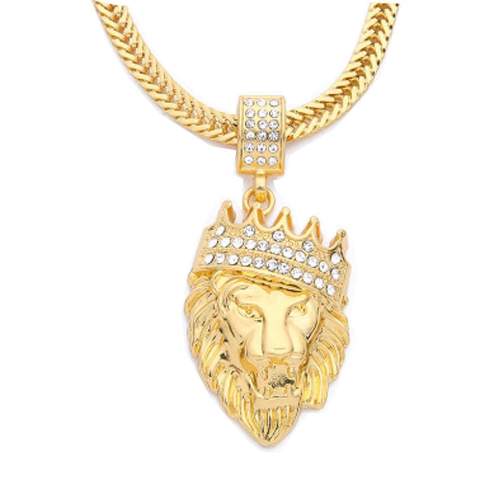 Becoler Full Iced Out Rhinestone Lion Tag Pendant Cuban Chain Hip Hop Necklace