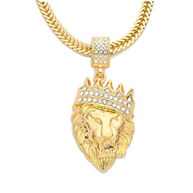Amazon becoler full iced out rhinestone lion tag pendant cuban amazon becoler full iced out rhinestone lion tag pendant cuban chain hip hop necklace jewelry aloadofball Images