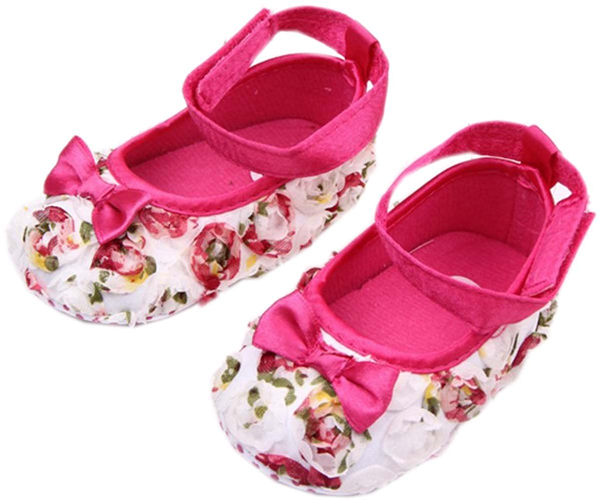 bettyhome Unisex Baby Girls Newborn Rose Bow Satin Soft Sole Infant Toddler Prewalker Sneakers 0-1 Year