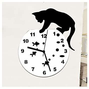 Malloom Etiqueta de la pared del reloj de travieso gato acrílico reloj pared reloj moderno diseño Home Decor (D): Amazon.es: Hogar