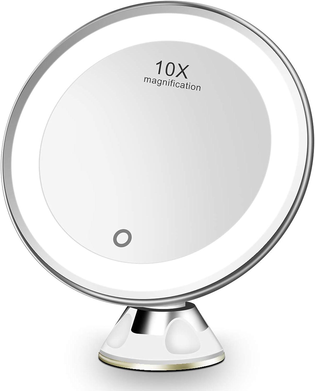 FASCINATE Espejo Maquillaje con Luz LED Aumento 10X Afeitado Aumento con Luz, Espejo Aumento LED Cosmético con Ampliación 10X y Poderoso Ventosa, Rotación 360°
