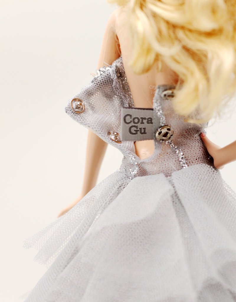 Dolls not Included The Handmade Grey Comet Longtrain Dress Fit for 12 Fashion Doll Cora Gu Handmade Dress Fit for 12 Doll