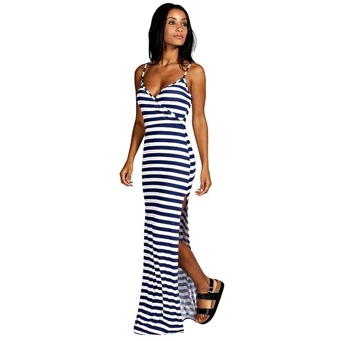 871772581bba2 Resplend Frau Lässige Sommerkleid Ärmelloses Schwarz-Weiß-Streifen-Loses  Langes Strandkleid Hosenträger V