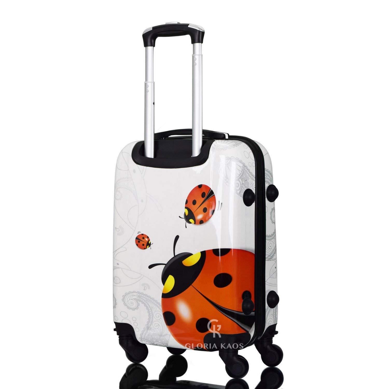 Gloria Kaos Valise /à roulettes Ultra l/ég/ère en Polycarbonate Flexible Blanc Butterfly 50cm Extra Small