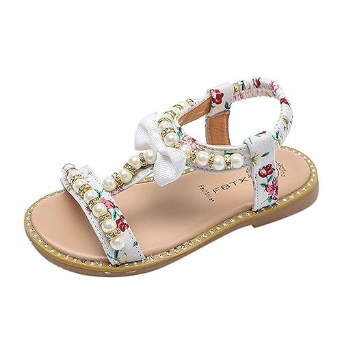 Topgrowth Sandali Bambina Fiocco Perla Cristallo Sandali Romani Scarpe da Principessa Sandali Scarpine Neonato Prima (25, Bianca)
