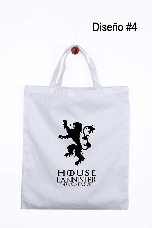 Gallaecia Studio Bolsa de tela blanca con asas largas o cortas logotipos de las Casas de los siete Reinos de Juego de Tronos: Amazon.es: Handmade