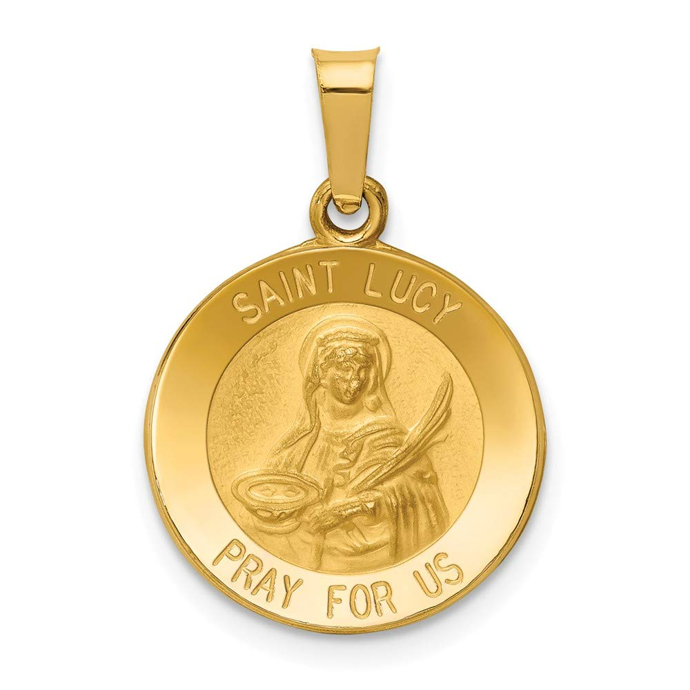 Mia Diamonds 14k Yellow Gold Polished and Satin St Lucy Medal Pendant
