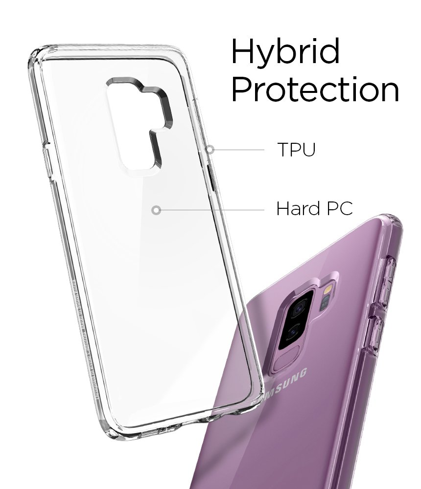 Spigen Ultra Hybrid Galaxy S9 Plus Case with Air Cushion Technology and Clear Hybrid Drop Protection for Samsung Galaxy S9 Plus (2018) - Crystal Clear by Spigen (Image #5)
