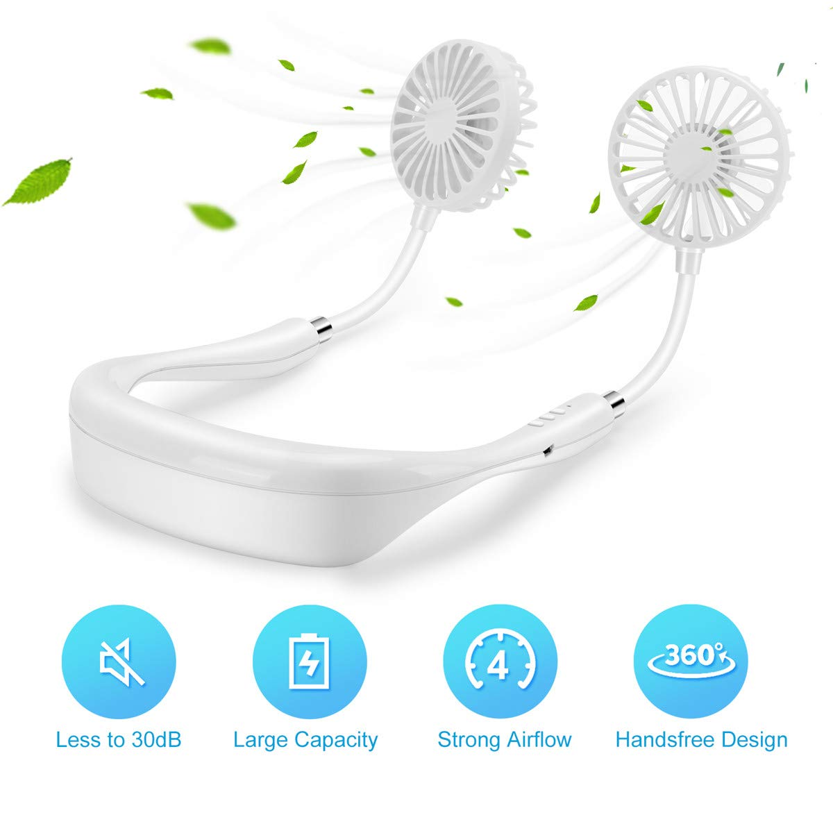Portable Hanging Neck Fan, Handsfree Personal USB Small Neck Fan with 2000mAh Battery 12-Hr Working Time 360 Bendable Head Low Noise, Mini Fan Around Neck for Sports Running Travel Camping White