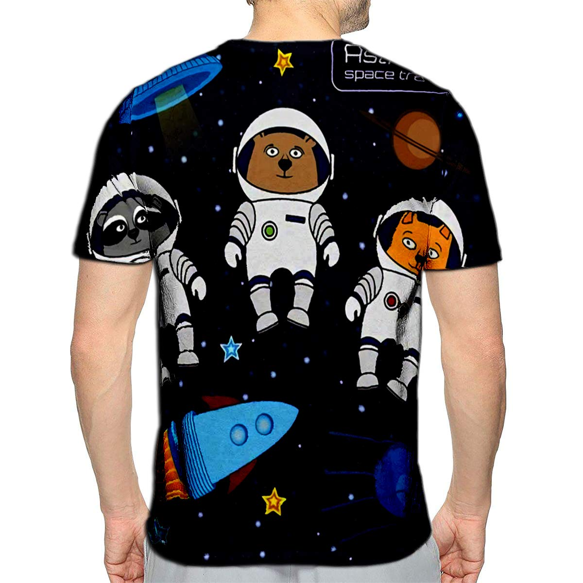 3D Printed T-Shirts Finny Cartoon Cat Bear and Raccoon Astronauts Cosmonauts ROC