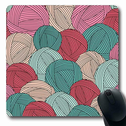(Ahawoso Mousepads for Computers Craft Teal Crochet Yarn Balls Pattern Green Blue Skein Hook Hank Cozy Lace Design Oblong Shape 7.9 x 9.5 Inches Non-Slip Oblong Gaming Mouse Pad)
