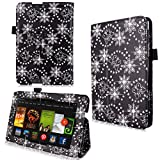Cellularvilla Case for Amazon Kindle Fire HD 7'' 7 Inch 2013 Edition Black Glitter Pu Leather Flip Folio Stand Case Cover + Stylus Touch Pen