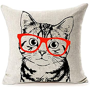907f8e2918c29 Aremazing Lovely Animals Abstract Adorable Cat Wearing Glasses Cotton Linen  Home Decor Pillowcase Throw Pillow Cushion
