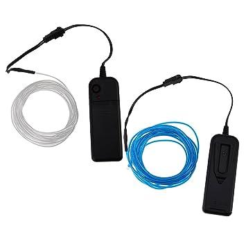 MagiDeal 2pcs 5m Lumineszenz Neon LED Lichter El Draht Saite Neon ...