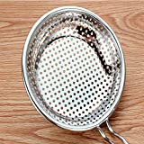 Stainless Steel Skimmer Spoon/Strainer Ladle - Cooking Spoon Strainer Soups Pasta - 17.3 Inch Long 8 inch Dia (Large)