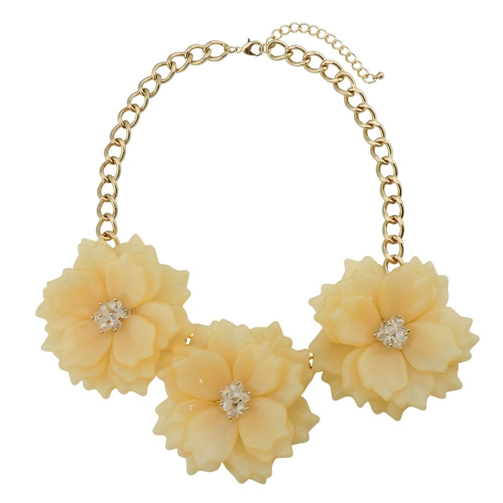 Bocar Statement Chunky Flower Necklace Bib Collar Jewelry Set for Women (NK-10466-Yellow Cream)